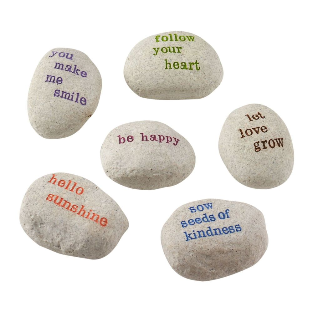 Department 56 Let It Bee Inspirational Garden Cement Stones 4050869 Set of 6